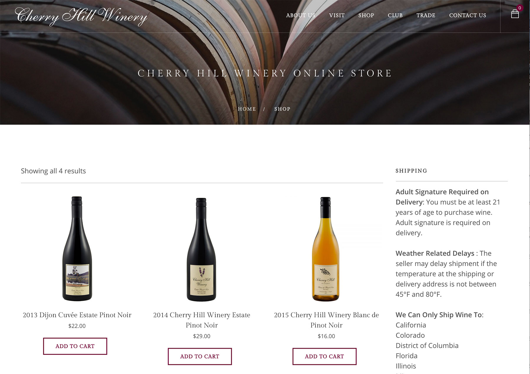 Winery website with WooCommerce