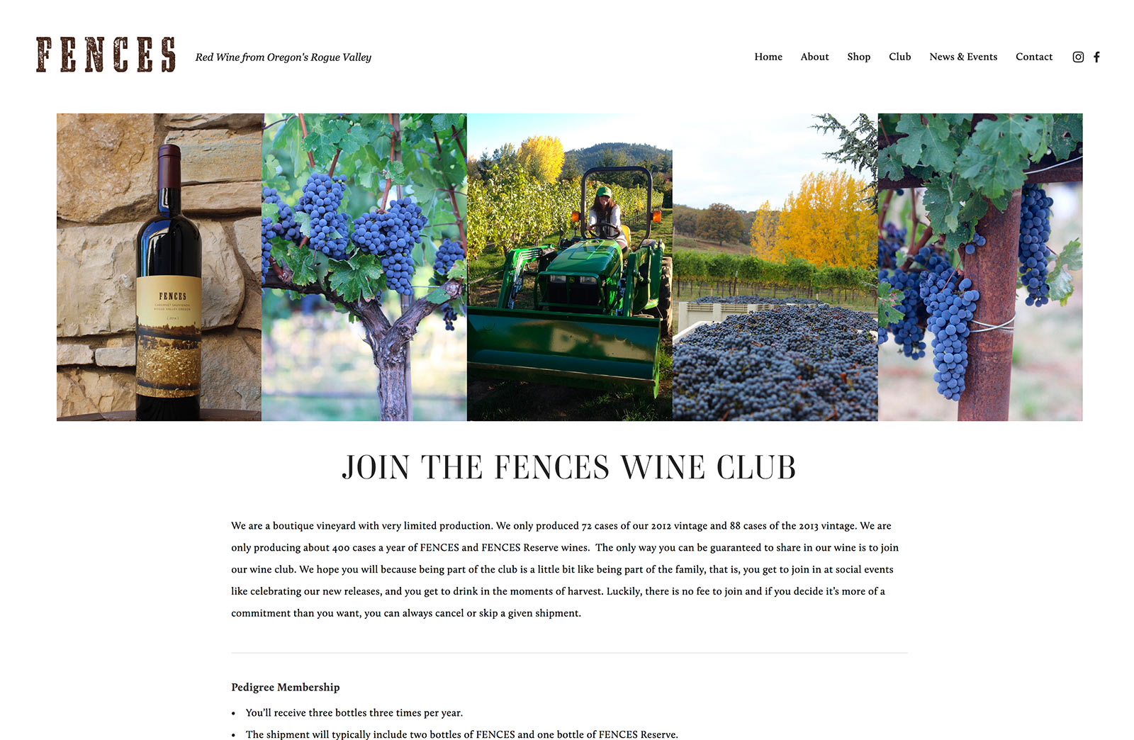 Southern Oregon Winery Website Development