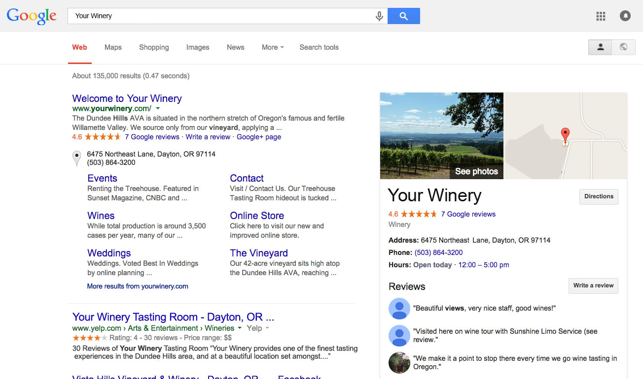 Google Business Listing for Winery