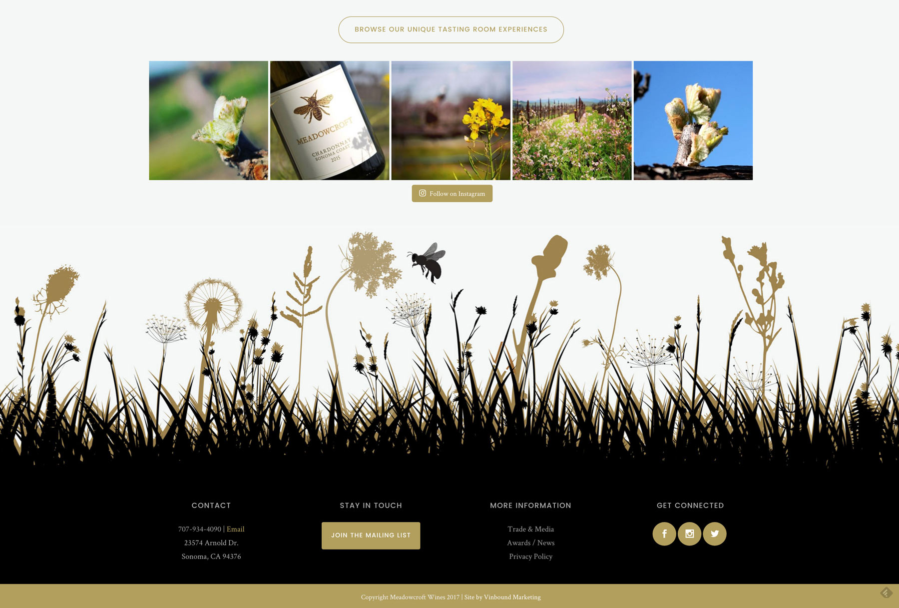 Winery website footer