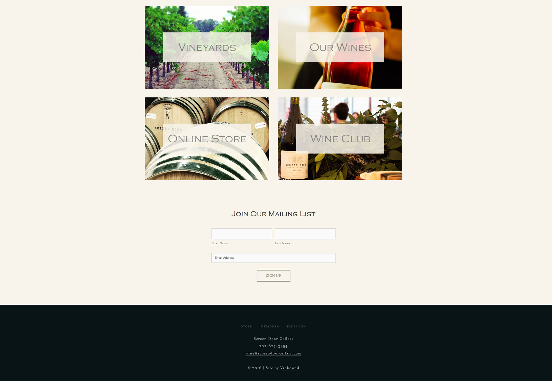 Merveilleux Our Squarespace Website Package Was The Perfect Fit For Screen Door Cellars.  It Provided A Clean, Modern Canvas To Show Off The Best Winery Photos And  Tell ...