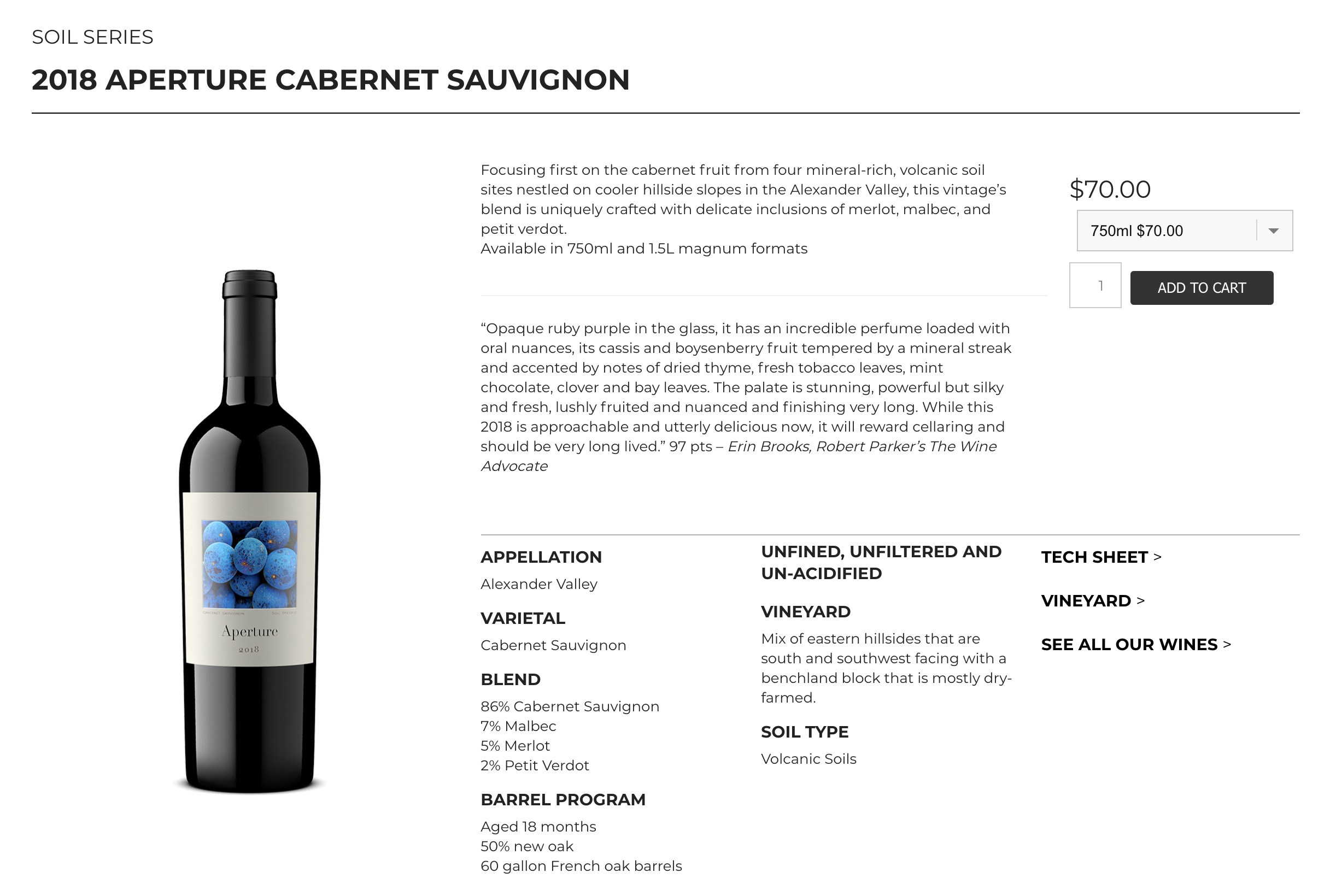 Samples of Aperture wines shop page