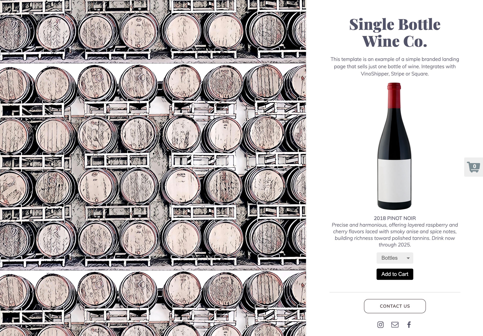 Single Bottle Wine Co. sample microsite