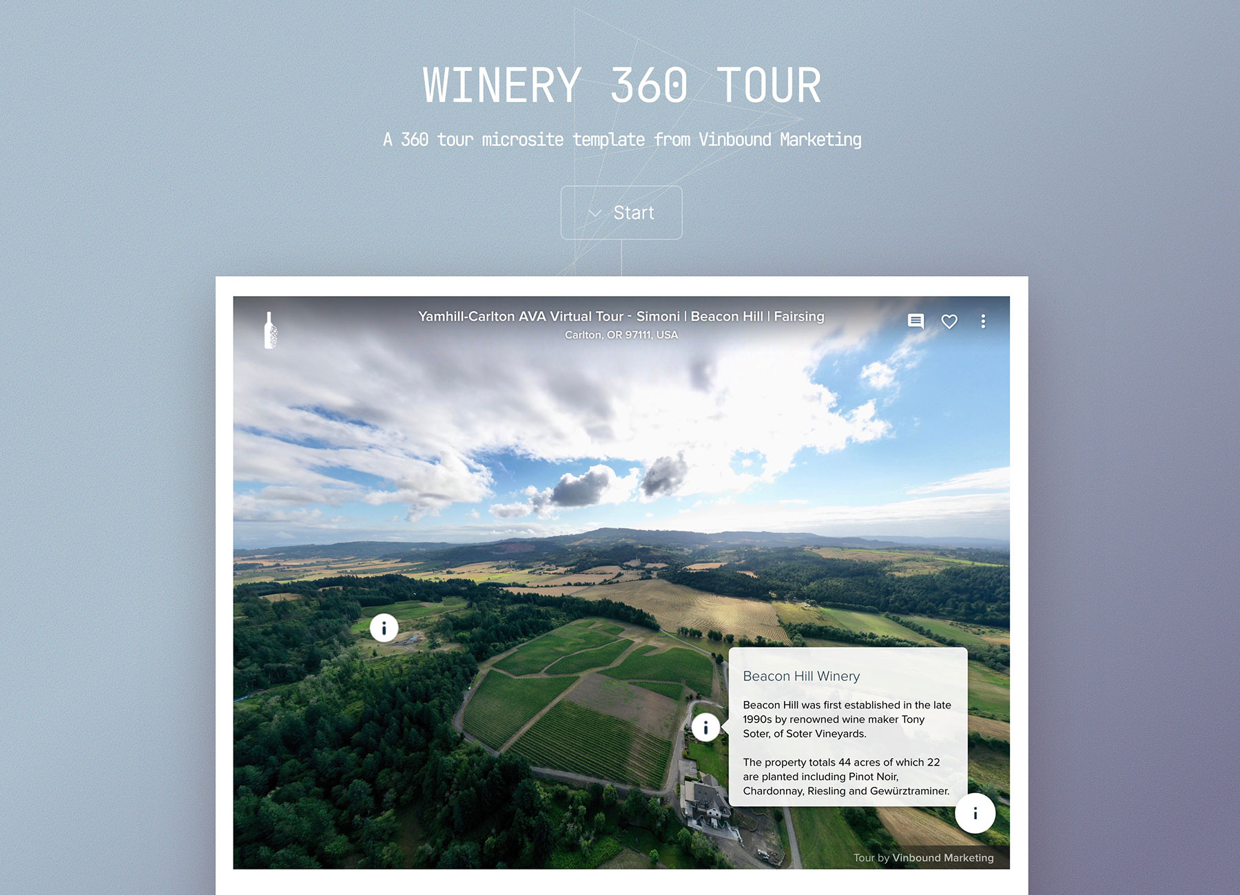 Winery 360 Tour. A 360 tour microsite template from Vinbound Marketing.