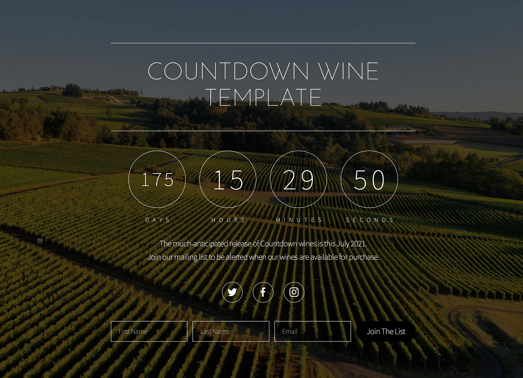 Countdown website example.