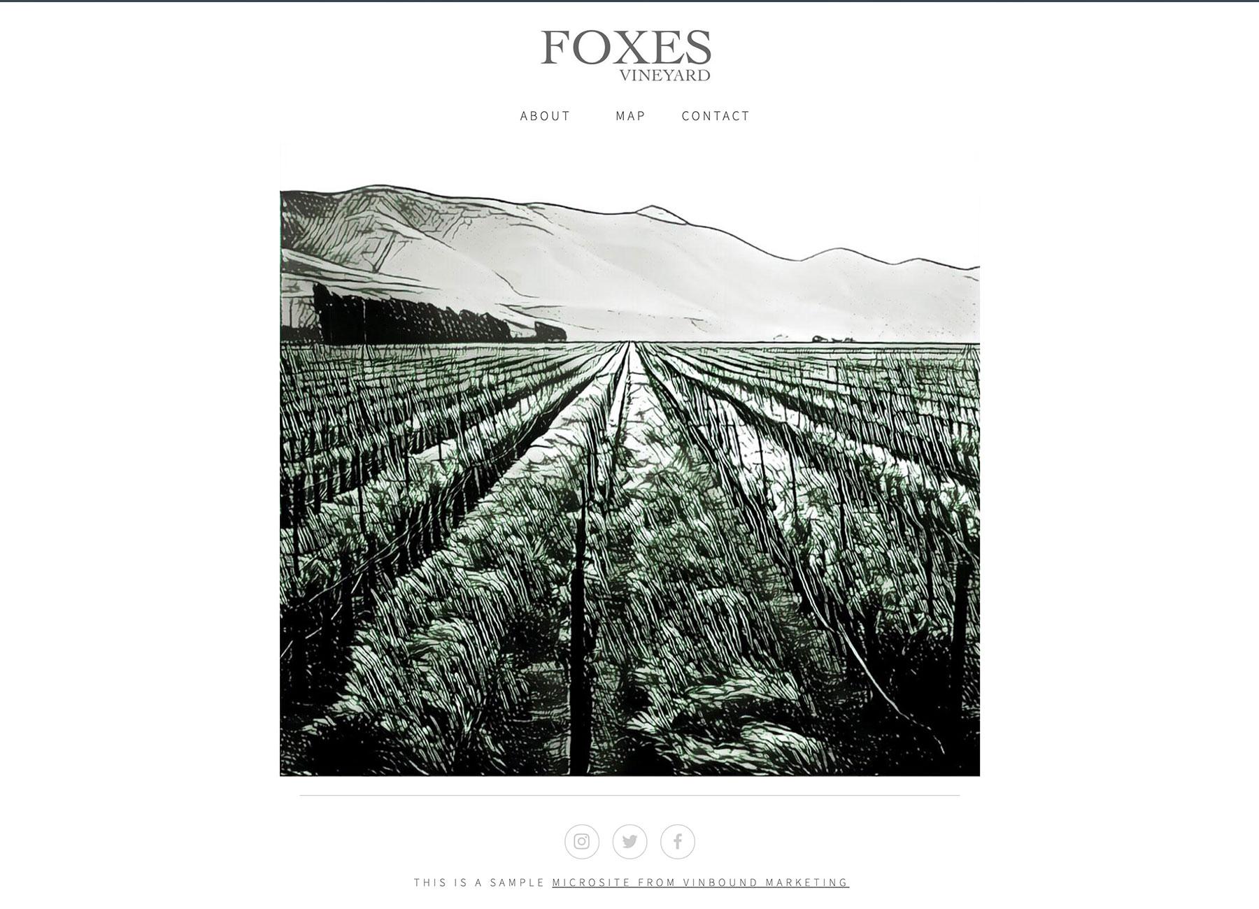 Foxes Vineyard Microsite example