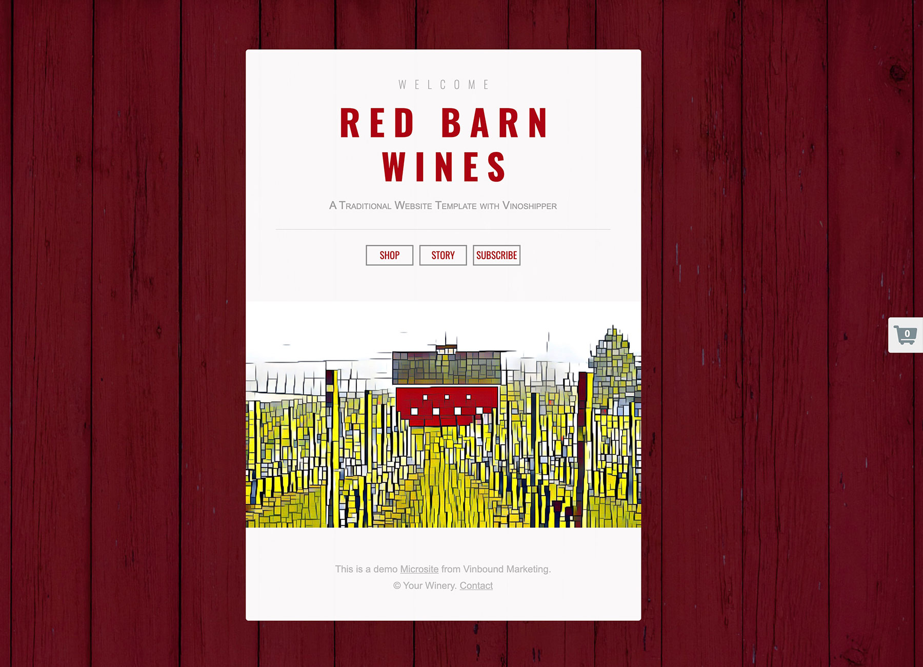 Welcome Red Barn Wines microsite example