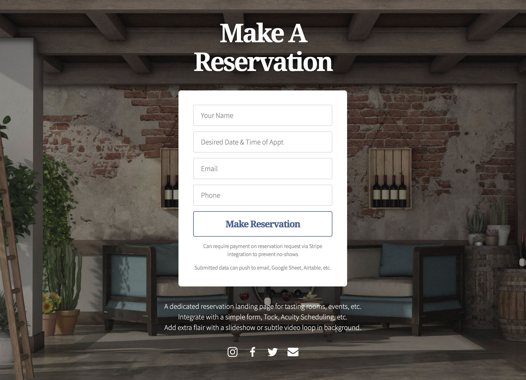 Screen shot of reservation page