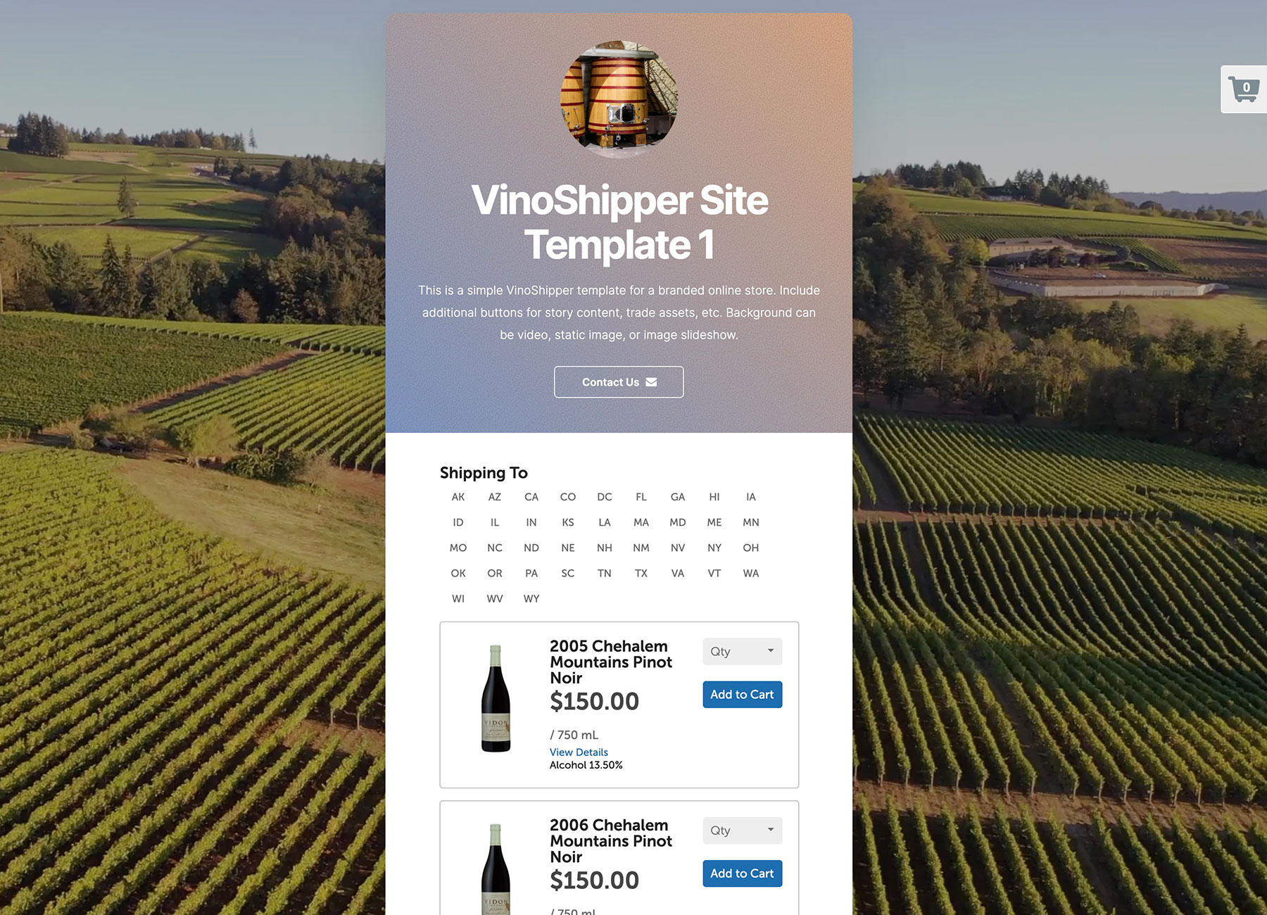 VinoShipper Microsite template from Vinbound