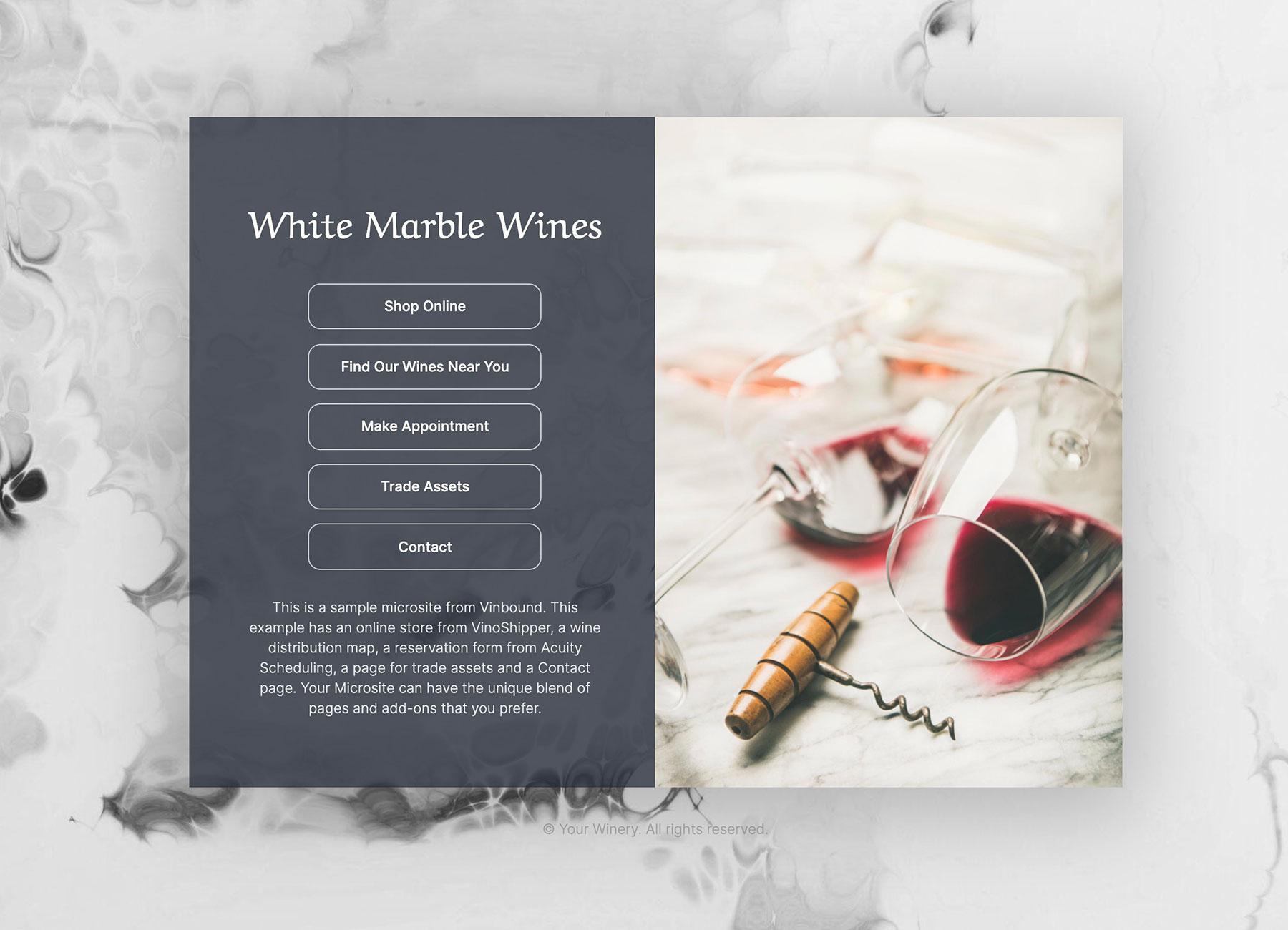Example of wine brand microsite